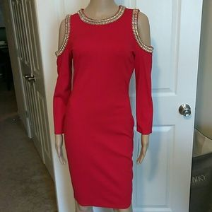 Elegant Red midi dress with gold & crystal detail